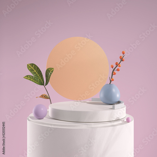 3d rendering Geometrical abstract background Scenes with podium scenes in pastel pink color.abstract pink color geometric shape background, modern minimalist mockup for podium display or showcase.