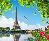 Fototapeta Fototapety z wieżą Eiffla - Eiffel tower and flowers