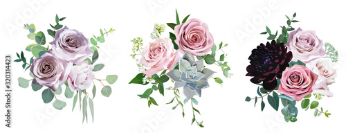 Dusty pink and mauve antique rose, pale flowers vector design wedding bouquets Wallpaper Mural