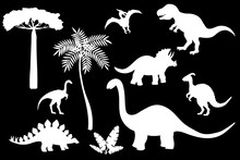 Vector Set Of Dinosaur Silhouettes, White Stencil On A Black Background