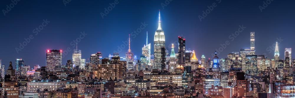 Fototapeta New York City skyline at night