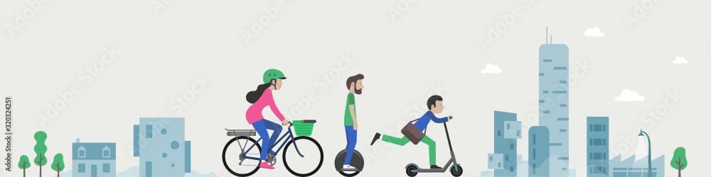 Fototapeta Trottinette, gyropode, vélo électrique, mono-roue
