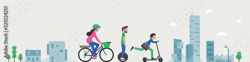 Fotografía Trottinette, gyropode, vélo électrique, mono-roue