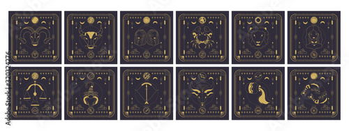 Set of zodiac signs icons Canvas Print
