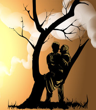 Vector Image Of A Couple In Lo...