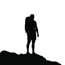 Silhouette Of Active Man Hiker With Bacpack. Vector Illustration.