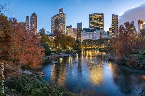 Fototapeta Central Park in New York at dusk obraz