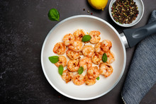 Top View Of Fried King Prawns In A Pan