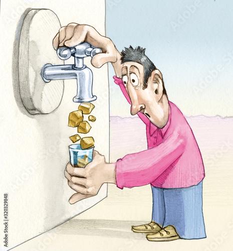 Fotomural potable water editorial cartoon