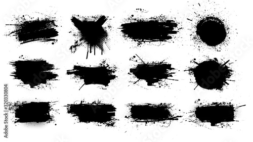 Cuadros en Lienzo Paint brush stains, ink splashes, strokes and blots of different shapes for frame, banner, label, text box, clipping masks or other art design