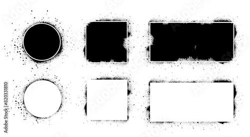 Obraz Black grunge with frame. Vector black splashes set. Dirty artistic design elements, boxes, frames for text. Grunge isolated on white background. Set of black paint, ink brush strokes. Vector set - fototapety do salonu