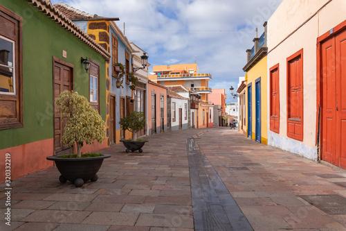 Beautiful colorful streets of old colonial town in Los Llanos de Aridane in La Palma Island, Canary Islands, Spain.
