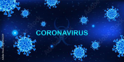 Obraz MERS-Cov (middle East respiratory syndrome coronavirus). Dark background with bacteria and the inscription coronavirus. 2019-nCoV concept. 3D elements. Vector illustration - fototapety do salonu