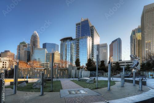 Obraz Charlotte, North Carolina skyline on lovely day - fototapety do salonu