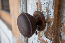Rusty Door Knob And Chipped Paint