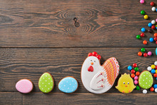 Easter Ginger Cookies And Eggs.