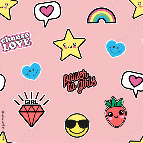 Photo Vector illustration of seamless texture with cute kawaii patches drawn in anime style isolated on pink background