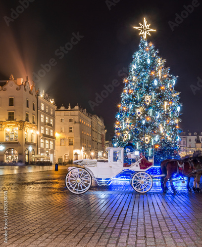 Krakow, Poland, Christmas tree on Main Square