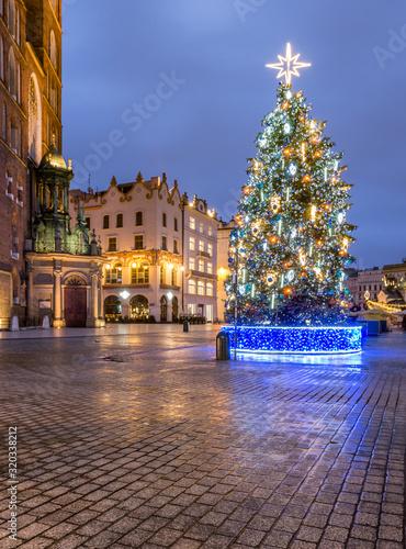 Krakow, Poland, Christmas tree on Main Square and St Mary's church