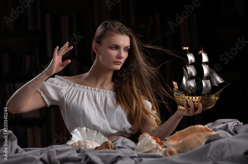 Beautiful girl in the form of an allegory of the sea element Wallpaper Mural