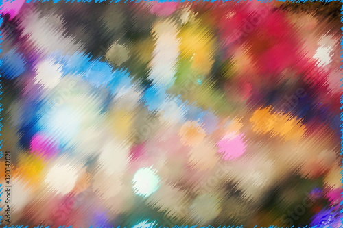Abstract multicolored background with blurred and deformed beams of lights Slika na platnu
