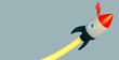 Leinwanddruck Bild - 3D illustration business metaphor Progress and innovation technology with red rocket launce successful business Leadership motivation concept.