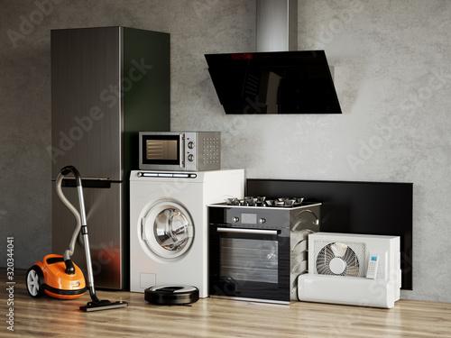 Photo Home appliances. 3d rendering illustration