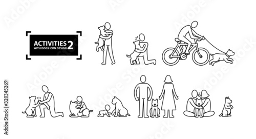 Activities with dog icon line 2 Canvas