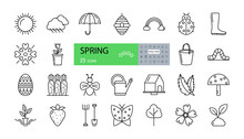 Vector Set Of 25 Spring Icons With Editable Stroke. Sun, Clouds With Rain, Umbrella, Boot, Rainbow, Beehive, Flower, Love, Ladybug, Bucket, Worm, Easter Egg, Carrot, Watering Can, Birdhouse, Leaves