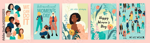 Fotomural Vector set of illustrations with abstract women with different skin colors