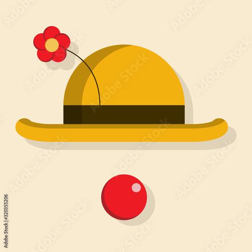 Obraz na plátně Cute clown hat with nose vector icon.