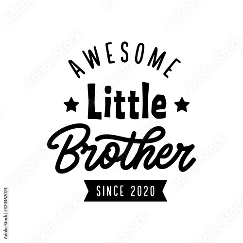 Little brother typography print. Vector vintage illustration. Canvas Print