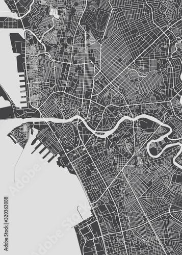 City map Manila, monochrome detailed plan, vector illustration Fototapete