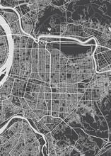 City Map Taipei, Monochrome Detailed Plan, Vector Illustration