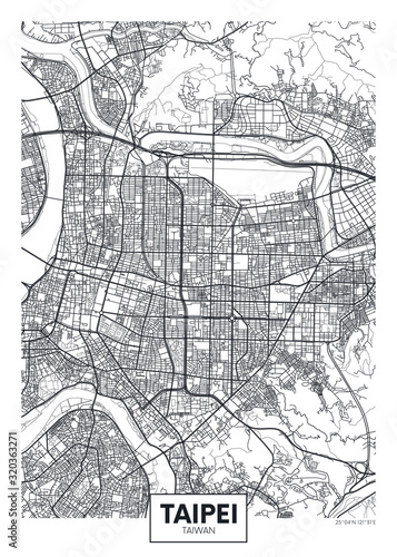 Canvas Print City map Taipei, travel vector poster design