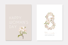 8 March International Woman's Day Greeting Card Background WithRealistic Flowers. Eight Number Made Of Cherry Blossoms, Composition For Romantic Holiday, Elegant Vintage Design. Vector Illustration