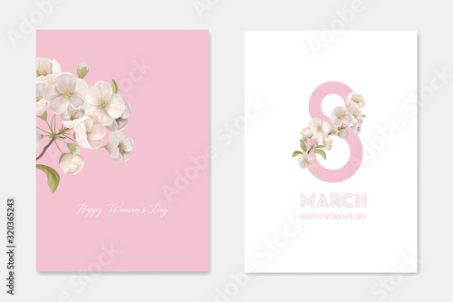 Happy Woman's Day 8 March Greeting Cards Set with Cherry Branch and Eight Number. White Sakura Flowers Decorative Ornamental Template. Floral Poster Flyer Brochure Cartoon Flat Vector Illustration