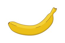 Yellow Banana Icon With Stroke...
