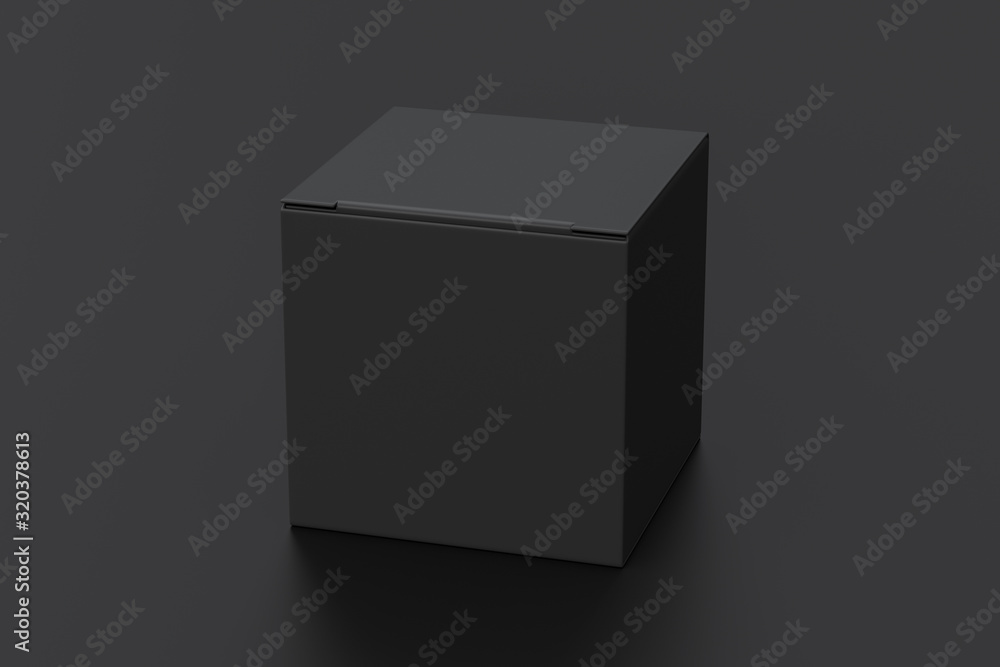 Fototapeta Blank black cube gift box with closed hinged flap lid on black background. Clipping path around box mock up. 3d illustration