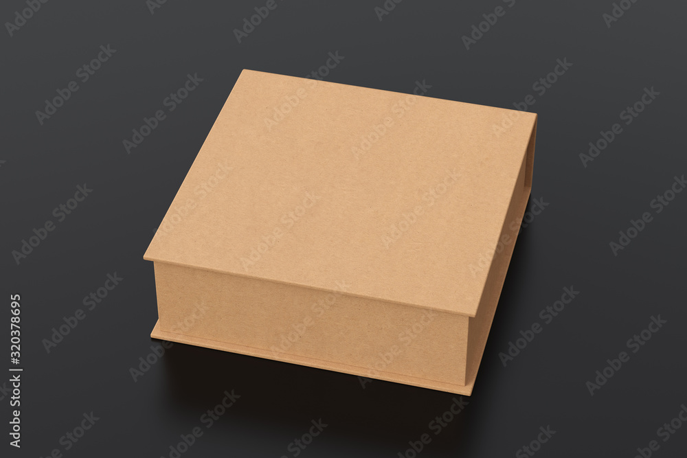 Fototapeta Blank cardboard flat square gift box with closed hinged flap lid on black background. Clipping path around box mock up. 3d illustration