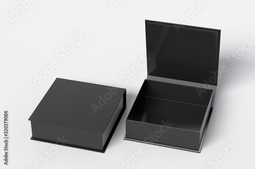 Obraz Blank black flat square gift box with open and closed hinged flap lid on white background. Clipping path around box mock up. 3d illustration - fototapety do salonu
