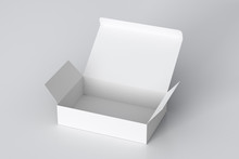 Blank White Wide Flat Box With...