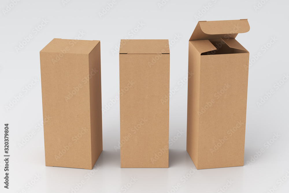 Fototapeta Blank cardboard tall and slim gift box with open and closed hinged flap lid on white background. Clipping path around box mock up. 3d illustration