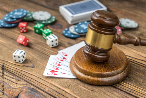 Judges gavel, card money chips, dices. Concept gambling game. Canvas Print