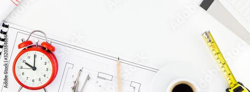 Fototapeta Interior designer table workplace with house plan obraz