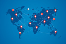 World Map With Destination Marker Pins And Plane Travel Routs. Top View Airplane With Flight Paths Between Continents Vector Blue Illustration