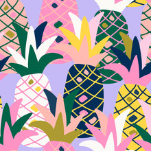 Modern Seamless Vector Tropical Colourful Pattern With Pineapples. Can Be Used For Printing On Paper, Stickers, Badges, Bijouterie, Cards, Textiles.