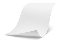 Blank Bended Paper Sheet With A Curved Corner, Isolated On White Background