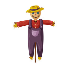 Scarecrow Vector Icon.Cartoon ...