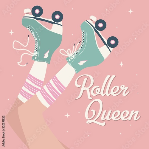 Fotografía Hand drawn illustration with female legs and tube socks and retro roller skates